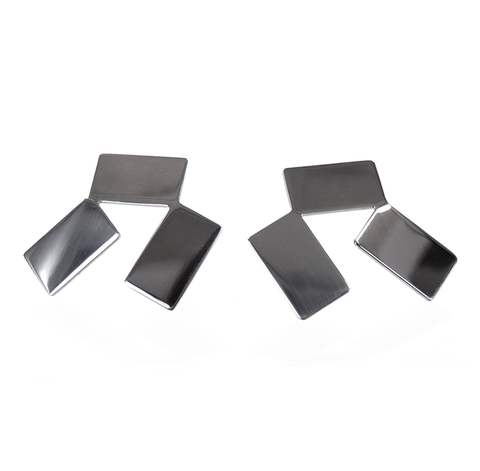 Pair of mirror-polished earrings, each comprised of three rectangular shapes joined at their corners.