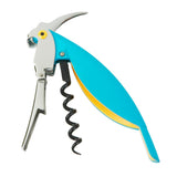 Open Parrot Corkscrew with silver colored head, bright blue body, and yellow eye.