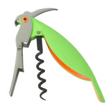 Open Parrot Corkscrew with silver head, lime green body, and orange eye