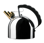Side view of the mirror-polished kettle on a white background, highlighting its brass whistle and scallop-edged handle.