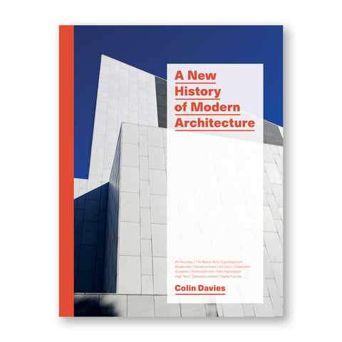 "Book cover with a red spine, featuring a full bleed photo of a modern facade against a blue sky. A translucent, white rectangle overlaid has red text that reads ""A New History of Modern Architecture"""