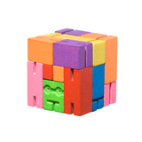 Multi colored Micro Cubebot folded up into its cube form.