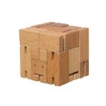 Natural wood Micro Cubebot folded into its cube form.