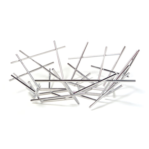 Stainless steel basket made up of seemingly sporadically placed, interconnected rods of the same width but different lengths.