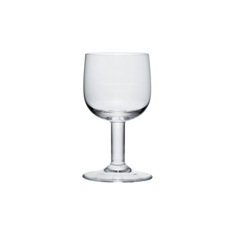 Side view of clear glass goblet with round bowl and thick stem.