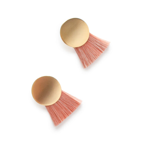Brass disc with naturally dyed (pink) horsehair attached at the base