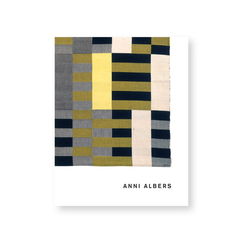White, rectangular book cover featuring a striped, color blocked, textile cropped off the upper left corner. Text at the bottom right reads: Anni Albers.