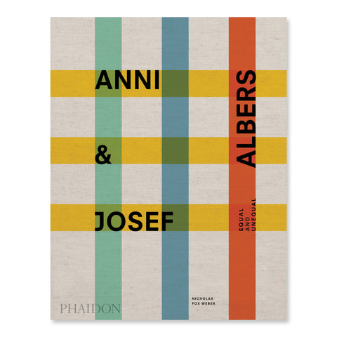 Cover of Anni & Josef Albers: Equal and Unequal featuring a grid pattern consisting of 3 yellow horizontal lines and 3 vertical lines in green, blue, and red. The lines of the grid are wide and transparent and are displayed against a textured beige backdrop. The title of the book is printed in bold black text along the lines of the grid.