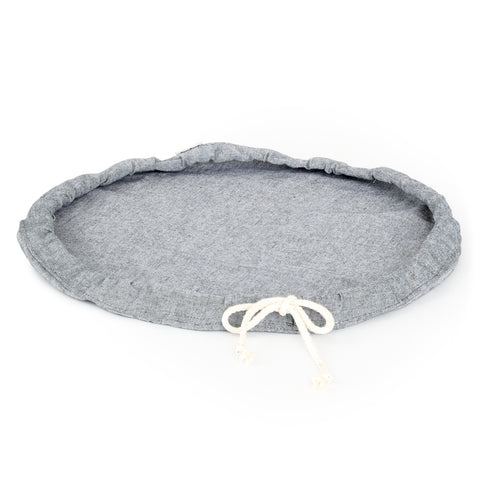A large sized Plat Bowl Cover with tied draw string, shown lying flat.