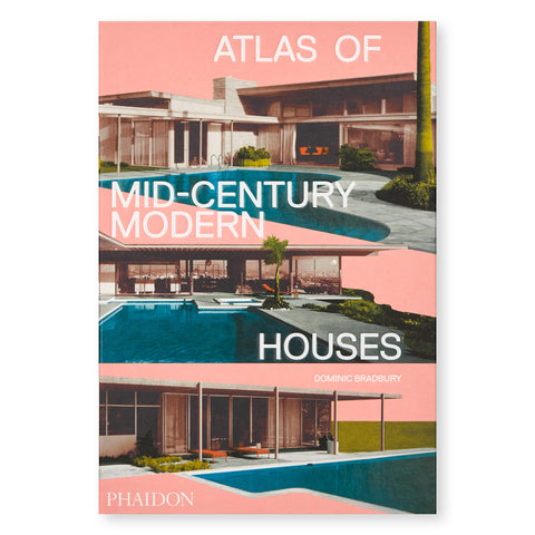 A pale pink book cover featuring three cutout photographs of mid-century modern housed with pools. White text overlaid: Atlas of Mod-Century Modern Houses.