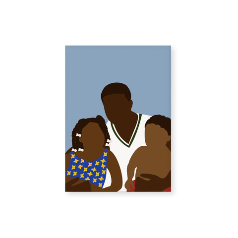 Vertical, light blue greeting card , featuring an illustration of a dark-skinned family: a man in a white v-neck holds two children. One child wears a blue floral top and has braided hair, the other, smaller child wears only red shorts. The style is minimalist and does not illustrate faces.