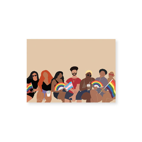 Horizontal, beige greeting card, featuring an illustration on the lower half, of a group of people of different shapes, sizes, and skin tones, in a row. Two people are holding rainbow pride flags, another two are holding rainbow pride fans, and the person at center carries the transgender pride flag. The illustration style is minimalist and renders bodies, clothing, hair and accessories, but not faces.