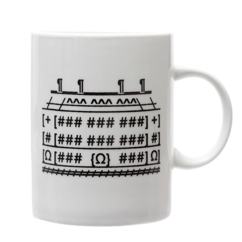 Side view of white ceramic Mansion Mug with black keyboard and punctuation marks configured to resemble Carnegie Mansion.