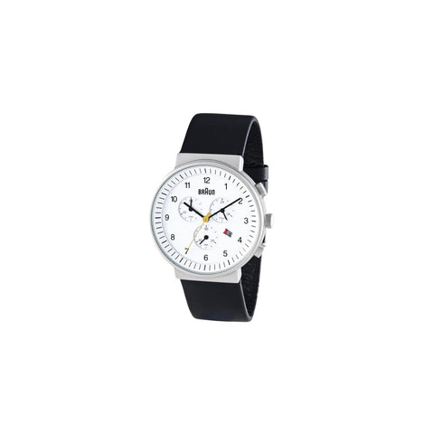 Braun Men's Analog Chronograph Watch, White Face with Black Band