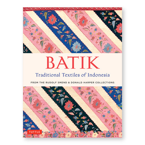 "Cover image with detail of fabric showing floral patterns in diagonal lines primarily in pink and blue with ""Batik"" title in bold red."