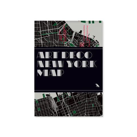 Folded gray and black map with a black bellyband with title text in a gray, art-deco style typeface.