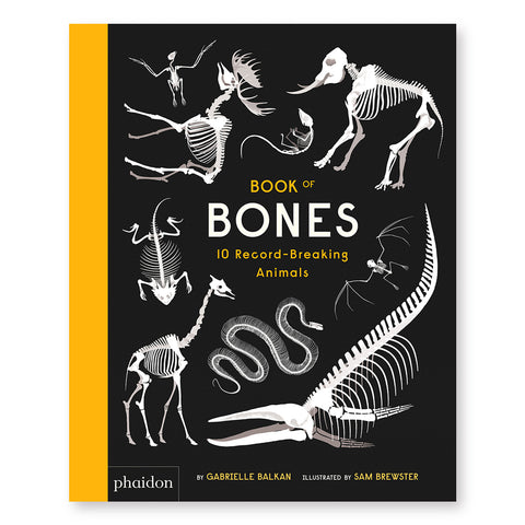 Black book cover with yellow spine and white illustrations of animal skeletons arranged around central title information in yellow and white sans serif capital letters.