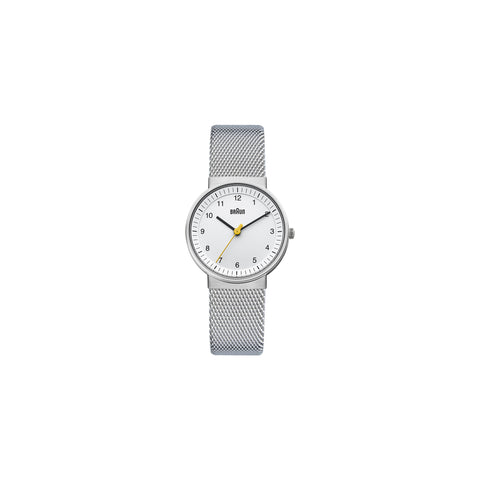 Silver watch with mesh band and white face. The hour and minute hands are black and the second hand is yellow.