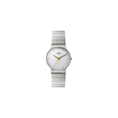Its slim, 38 mm stainless steel case houses a clear, uncluttered face with a yellow second hand beneath a scratch-resistant mineral crystal. The case segues smoothly to a stainless steel bracelet.