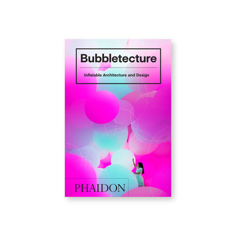 Small book cover with a figure in an environment of layered pink white and light blue orbs. Title in black font in a black square at top.