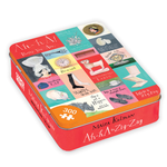 Rectangular tin with pinkish red sides and several small colorful illustrations of statements and design objects on the cover