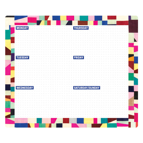 Rectangle with rounded corners featuring a colorful patterned boarder and dot grid interior with spaced out labels for the days of the week