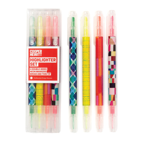 Package of double ended highlighters in yellow green orange and pink with complementary brightly colored patterns on the body of each highlighter. Same highlighters shown outside of packaging to the right
