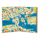 An illustrated map of Stockholm, Sweden is featured in this spread and presented as a map filled with shapes in various sizes; the dominant color being yellow.