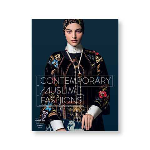 Dark blue book cover with photograph of a figure wearing ornately patterned and embroidered dress and headcovering. Title overlaid in white modern font
