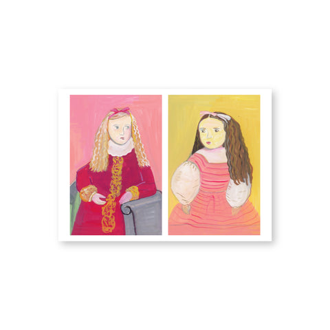 A horizontal postcard depicts side by side portraits of the Hewitt sisters as young girls painted in pastels colors. On the left, one sister has curly long blond hair and wears a darker pink dress with white collar. She is seated in a blue chair with a painted pale pink background. On the right, the other sister is painted with long curly brown hair, wears a pink jumper with white blouse and is painted against a  pale yellow background.
