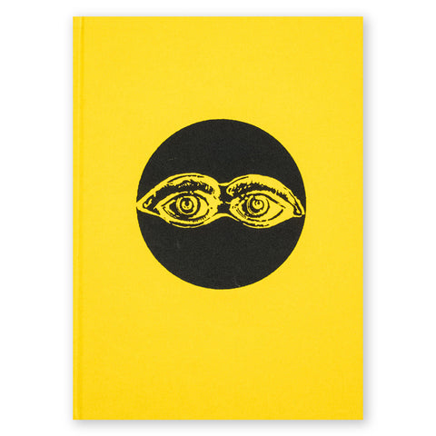 Book cover featuring a vibrant yellow background, layered over with a  black and yellow symbol in the center of the book; the symbol is a black circle and a pair of eyebrows and eyes.