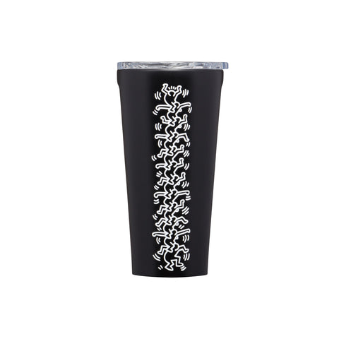 Matte black tumbler with a clear lid, featuring a white Keith Haring line drawing of stacked people on one side.