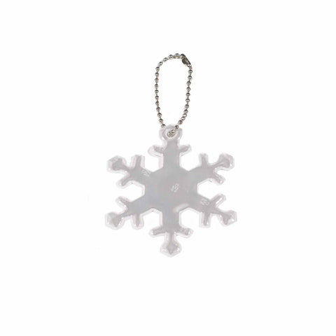 Hi- reflective snowflake-shaped keychain.