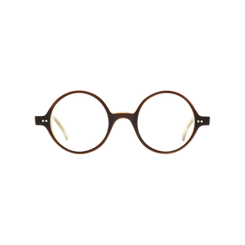 Round glasses with thin brown frames and clear lenses. Middle hinges and rounded bridge.