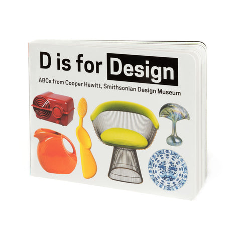 Board book cover with six colorful design objects