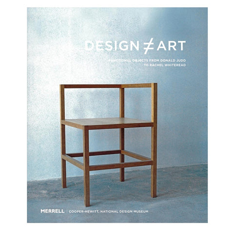 Book cover with photograph of a rectilinear wooden furniture piece in a grayish blue room. Title above in white sans serif font