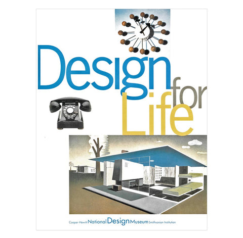 White book cover with title in tall, thin font in blue, gray, and yellow surrounded by images of a midcentury modern clock, black rotary telephone, and a modern architectural drawing