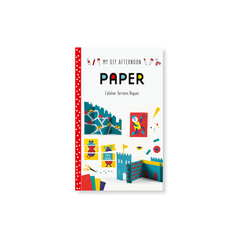 "White book cover with a red and white polka dot spine has renderings of paper crafts and text that reads ""My DIY Afternoon"" ""PAPER"" at the top."