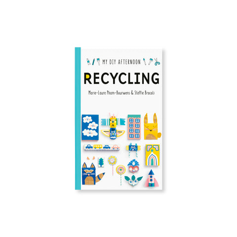 "White book cover with a teal and white striped spine has renderings of paper crafts and text that reads ""My DIY Afternoon"" ""RECYCLING"" at the top"