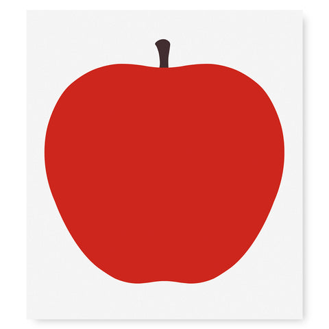 Large, red, flat representation of an apple with a brown stem, at the center of a white, square poster.