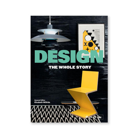 Book cover showing iconic yellow black and white design objects against a black background. Title in bold mint sans serif letters through the middle