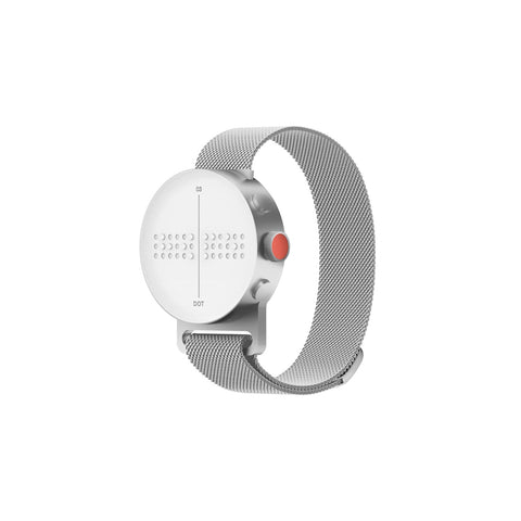 Stainless steel mesh band holds a white watch face which features a moving keyboard that displays braille text in real-time.