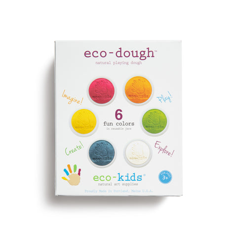 "A white, rectangular eco-dough package imprinted with handprint logo, product name, manufacturing and age graphics and features ""6 fun colors"" encircled by orange green, white, blue, yellow and red dough pots stamped with the hand imprint and eco-kids logo."