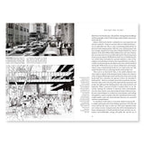 A spread from Essays on Jane Jacobs featuring two images on the left. The images are displayed at the top and bottom of the page. The top image is of a busy street scene and is in black and white. The bottom image is a drawing of a heavily populated area at the center of two office buildings. A bridge, drawn above the crowd, connects both buildings. Black text is printed against a white backdrop on the right page.