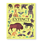 Pale yellow book cover covered in stylized illustrations of animals including a buffalo, wolf, kangaroo, warthog, owl, seal, skunk, and more. Text: Extinct: An Illustrated Exploration of Animals That Have Disappeared.