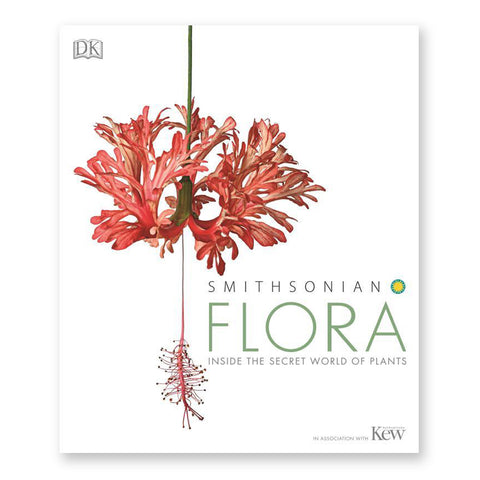White book cover with a hanging flower with coral pink petals and stamens further hanging down to the left of the title in mint green letters