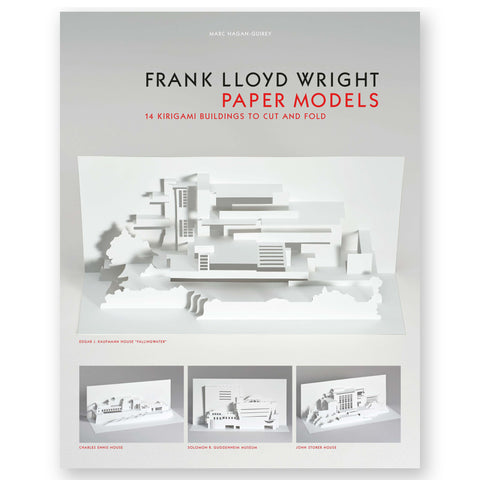 "Book cover featuring a light grey to white gradient background, paper model of the famous ""FALLINGWATER"" home, in the center. At the bottom of the cover, there are three smaller images of architectural accomplishments of Frank Lloyd Wright as paper models."