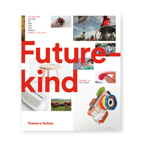 A white cover with the title Future-kind spread into two lines in bold, left aligned red lettering superimposed over ten variously sized color photographs of products and persons using products. Additional credits upper left, center and bottom left; subtitle all-caps black letters; author, publisher and additional credits all-caps red letters.