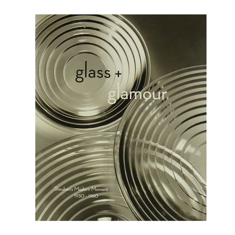 Book cover with photograph of three ridged glass pieces and title in lowercase black and white letters