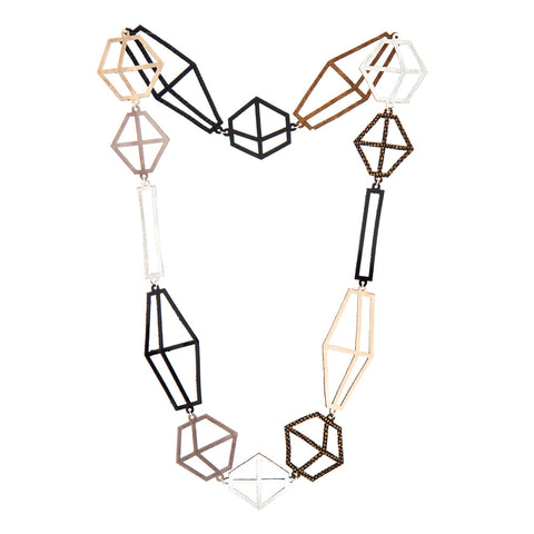 Necklace designed from laser-cut leather small jewels in shades of brown, black, and silver colors.